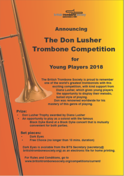 Announcing The Don Lusher Trombone Competition 2018